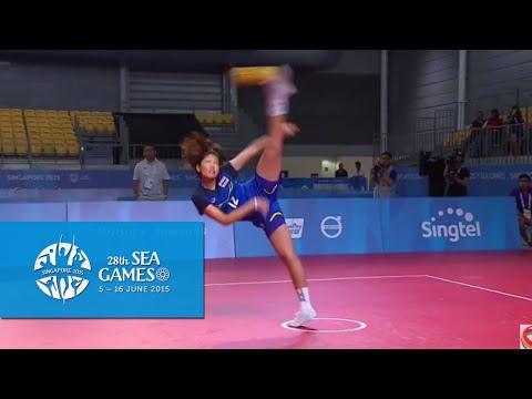 Sepaktakraw Women's Regu Semi-final Thailand vs Vietnam (Day 8) | 28th SEA Games Singapore 2015