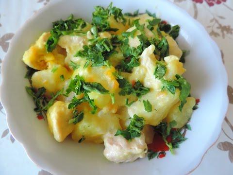 Как приготовить картофель с индейкой на сковороде быстро и вкусно.