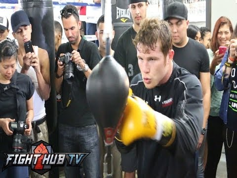 Canelo Alvarez vs. Alfredo Angulo- Canelo heavy bag/timing bag workout Image 1