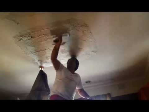 Plastering Repair of Large Hole in Plasterboard Ceiling