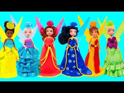 Поделки из пластилина Play-Doh: Куклы Феи Диснея. Лепим платья из Плей До