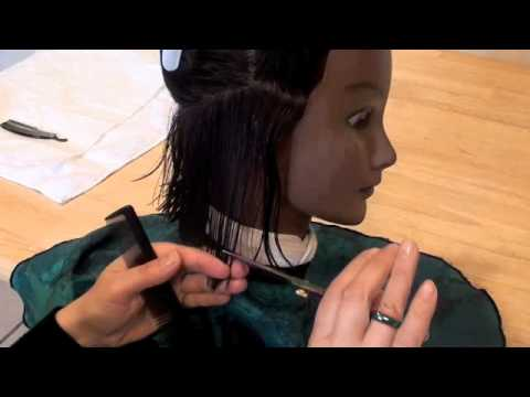 COSMETOLOGY; HAIRCUTTING 2-2 SCISSORS/ RAZOR State Board demo, 90 degree layers