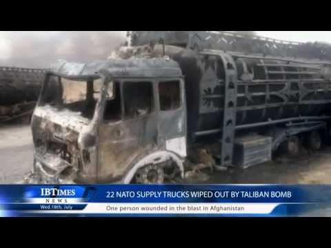 22 NATO supply trucks wiped out by Taliban bomb