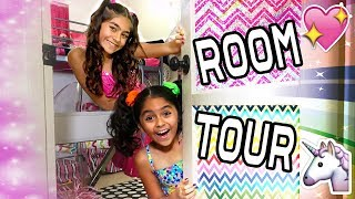 Room Tour - Mercedes & Evangeline Pink Rainbow Bedroom : VLOG IT // GEM Sisters