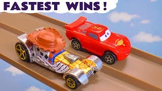 Cars Lightning McQueen Fastest Wins Race with Hot Wheels Toy Story 4 Woody and Superheroes TT4U