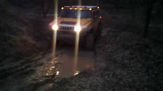 Hummer H2 and Jeep Wrangler off roading in Milovice CZ