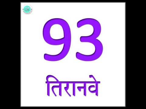 Learn Hindi : Numbers 91 to 100