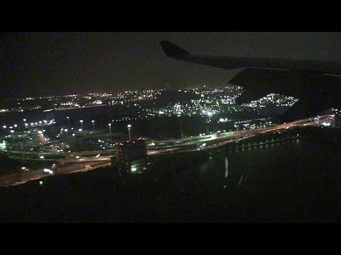 夜の空港離着陸!!! 福岡発羽田行 Skymark Airlines SKY026 A330 Fukuoka - Haneda [機窓2014]