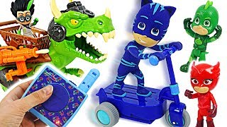 PJ Masks RC Catboy on scooter! Save police from dinosaur! #DuDuPopTOY