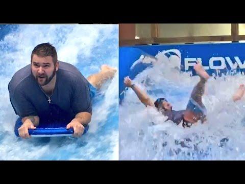ALMOST DIED! FAT MANS EPIC FLOW RIDER SURFING FAIL!