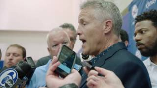 Brett Brown at the 76ers press conference on Draft Day | 23 June 2016