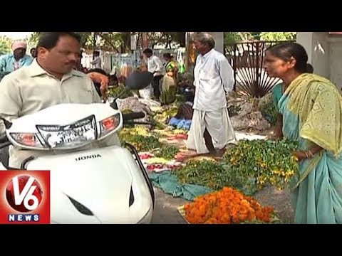 Saddula Bathukamma Festival Flowers Sale In Karimnagar City | V6 News