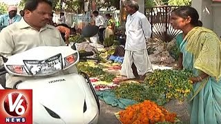 Saddula Bathukamma Festival Flowers Sale In Karimnagar City