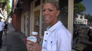 TAMIA IN STRASS HIGH HEELS TAKES A SHORT COFFEE BREAK BEFORE GOING TO VEGAS