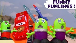 Funny Funlings races with Cars McQueen the Hot Wheels Superheroes and a Rascal Funling TT4U