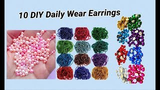 10 DIY Daily Wear Earrings Making with ball chain