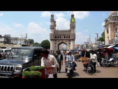 The street scene near the Charminar, Hyderabad, India on 4/24/2011.