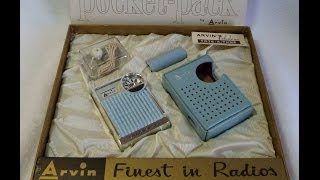 MIB 1962 Arvin Model 62R65 Transistor Radio Gift Set (Made in USA!)