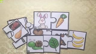 Trò chơi ghép hình con vật với đồ ăn - Đồ chơi trẻ em | Jigsaw Puzzle