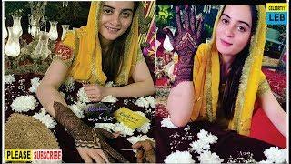 Beautiful Aiman Khan Having Kashee?s Bridal Mehndi for her Wedding By Celebrtiy Leb