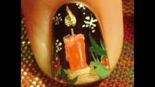 1 Nail Art Tutorial | Easy Christmas Candle - Snowflakes - holly - Nails Design