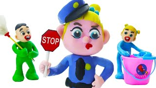 Funny Play Doh Stop Motion Superhero Babies POLICE NEW CAR IS DIRTY 💖 Play Doh Cartoons For Kids
