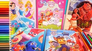 Speed Coloring Toys Moana, Paw Patrol, Disney Princess, Palace Pets, and Finding Dory | SWTAD