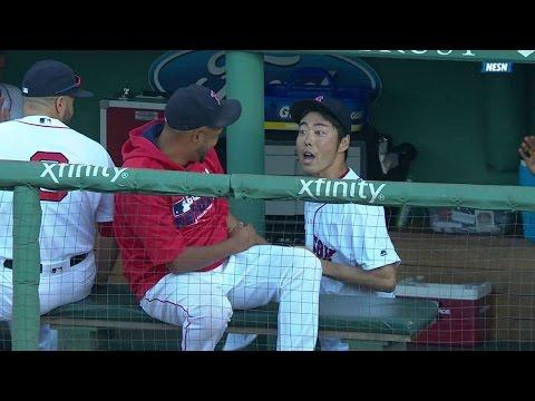 SEA@BOS: Uehara poked in the eye, jokes with teammate