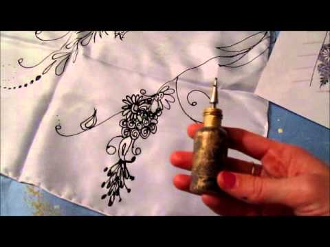 How to paint on silk using gutta. Hand dyed silk scarf.