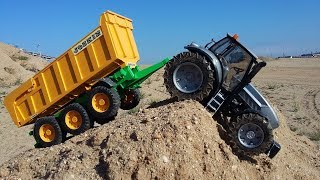 BRUDER TOYS tractor downhill CRASH! | Kids video