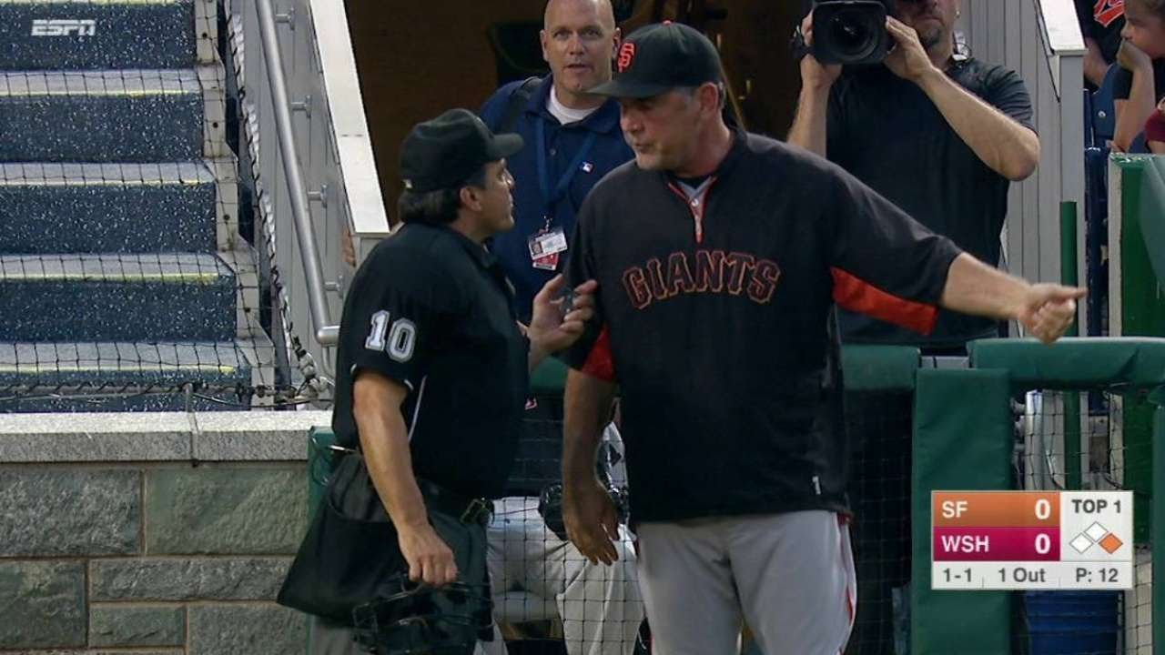 SF@WSH: Bochy unhappy when strike call is not checked