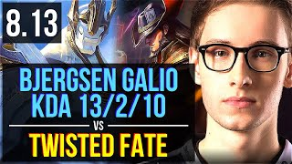 TSM Bjergsen - GALIO vs TWISTED FATE (MID) ~ KDA 13/2/10 ~ NA Challenger ~ Patch 8.13