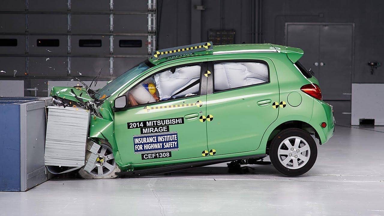2014 Mitsubishi Mirage moderate overlap IIHS crash test - YouTube