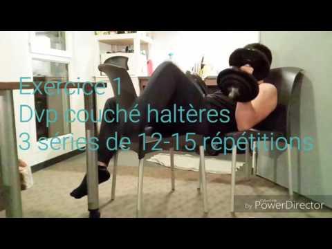 muscler pectoraux avec 1 halteres videolike
