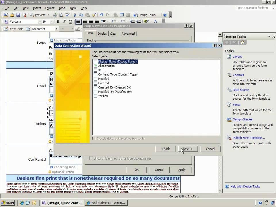 binding sharepoint list data to an infopath form template