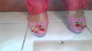 Lola dephsacha dangling crossdresser platforms mules highheel sexy cigarette crush