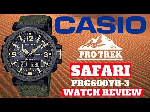 (4K) CASIO PRO TREK SAFARI MEN'S WATCH REVIEW MODEL: PRG600YB-3