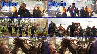Avengers: Infinity War - Trailer vs Movie Comparison [4K UHD]