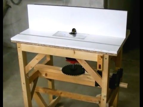 Homemade Router Table Eigenbau Frästisch (lift and retractable casters)