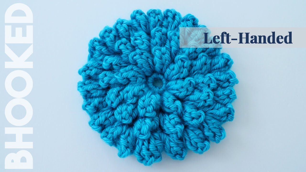 Crocheting Left Handed : How to Crochet a Flower Left Handed: Crochet Popcorn Stitch Flower ...