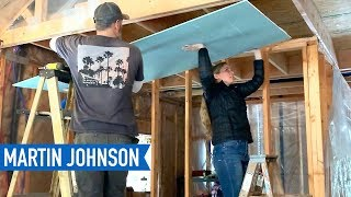 Beginners Install Drywall! How bad was it? | Off Grid Cabin Build #58