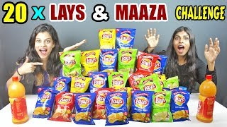 20 PACK LAYS & 2.4L MAAZA CHALLENGE  LAYS & MAAZA EATING COMPETITION Food Challenge in India(Ep-152)