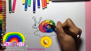 How To Draw A Snail Rainbow for Kids step by step Coloring Pages Learn Colors Childrens