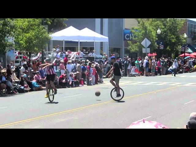 Unicycle Basketball Players Alameda 4th of July Parade