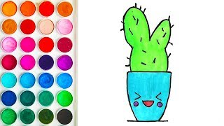 Drawings for Kids with Cheerful Cactus - Children's Coloring Pages for Baby