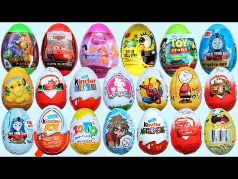 20 Surprise Eggs, Kinder Surprise Cars 2 Thomas Spongebob Disney Pixar