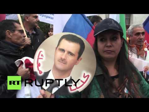 Bulgaria: Anti-US rally held outside Russian embassy in support of Putin and Assad