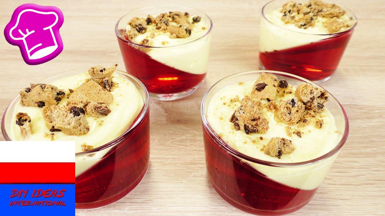 Deser z galaretką i kremem | warstwowy, asymetryczny, ukośny deser