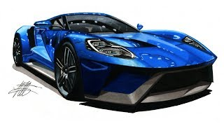 Realistic Car Drawing - 2017 Ford GT - Time Lapse