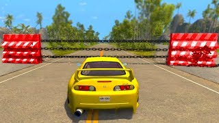 Cars against Chain Wall - BeamNG drive